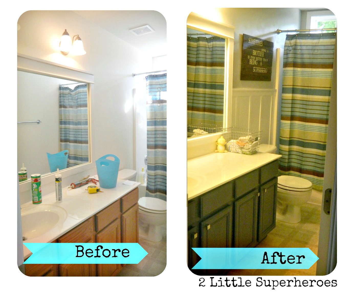 bath1collage $187 Boys Bathroom Makeover
