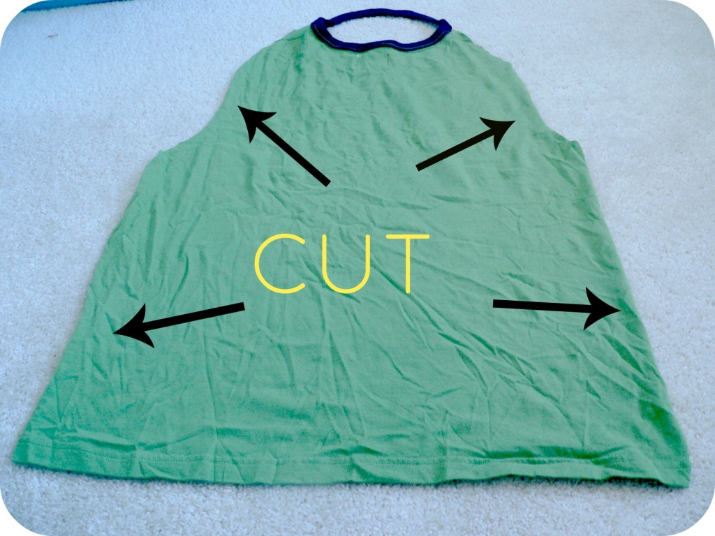 cutshirt2 1024x768 No Sew Superhero Capes