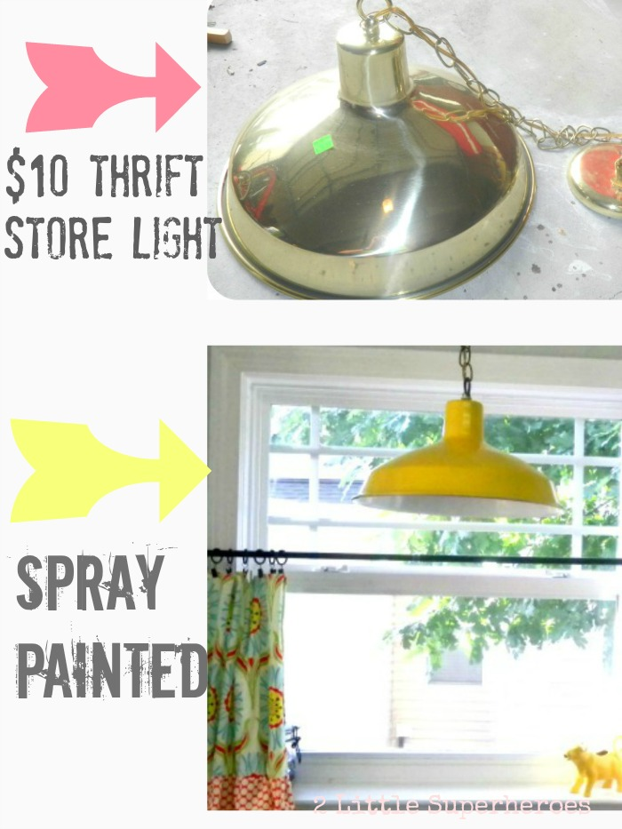 spray painted yellow light  Yellow Light Makeover