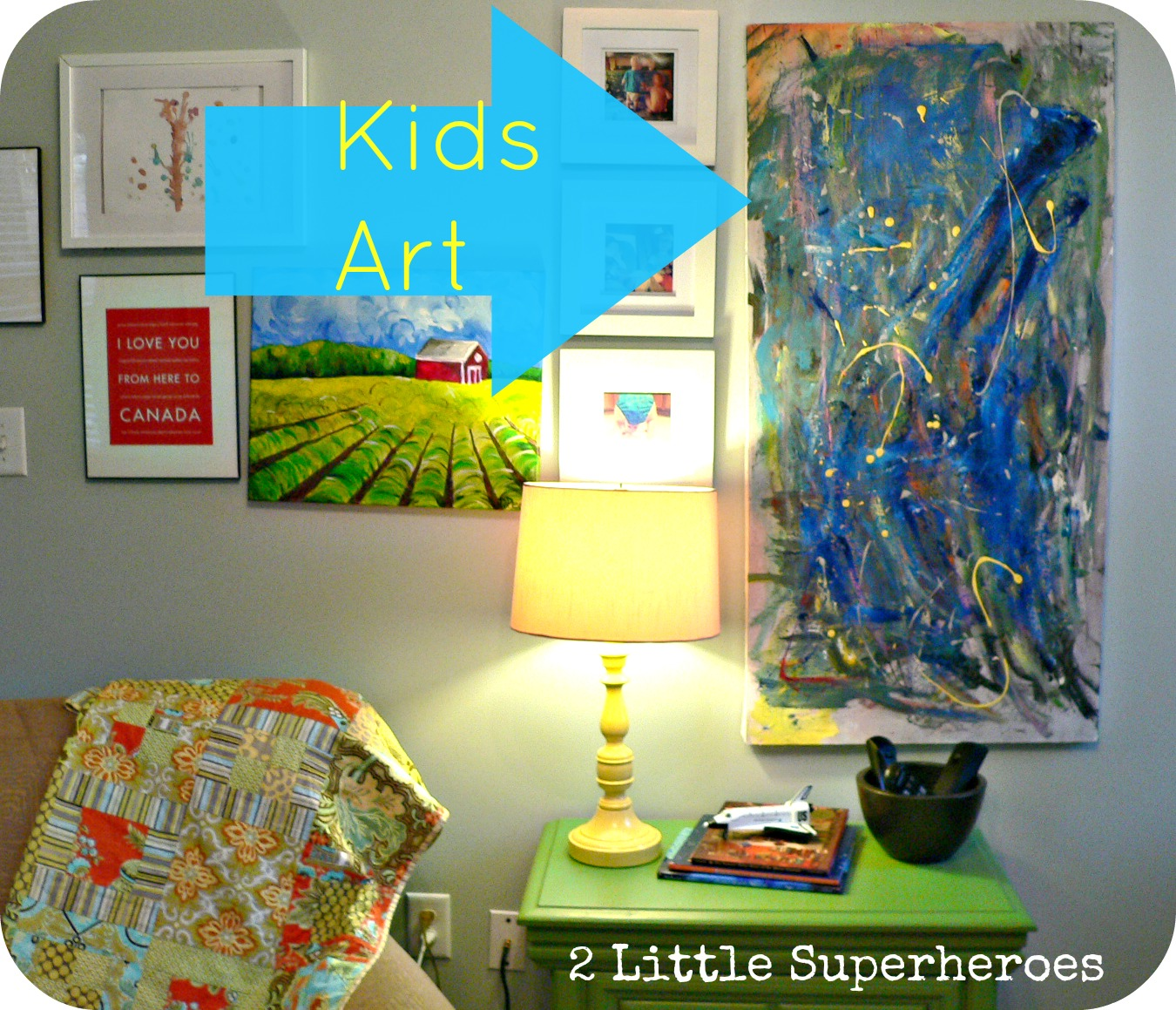kidsart Lamp & Ugly Painting Makeover