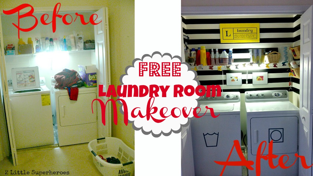 beforeafter2 My Completely Free Laundry Room Makeover