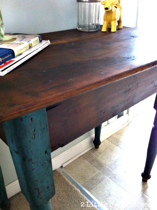 table makeover Refinishing Furniture with Coconut Oil