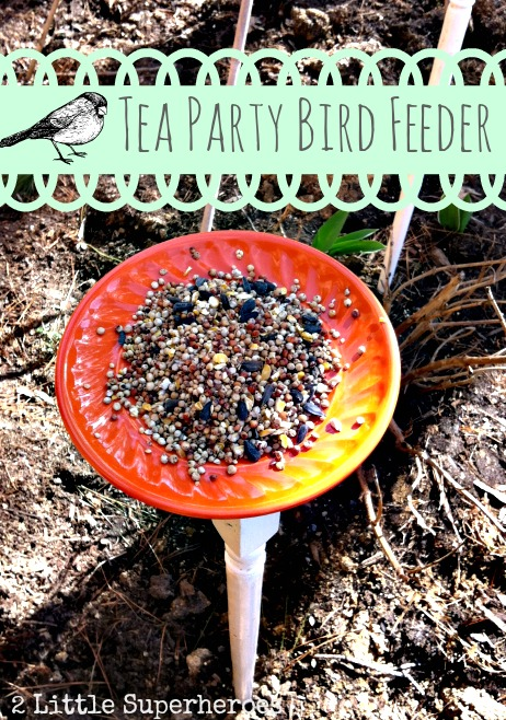 tea party bird feeder 2littlesuperheroes DIY Bird Feeder