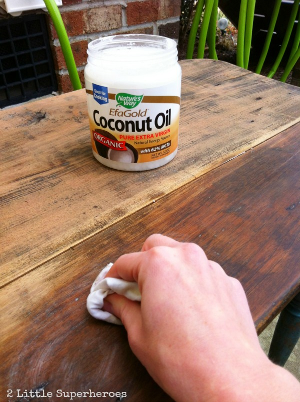 refinishing furniture with coconut oil 2 little supeheroes2 little