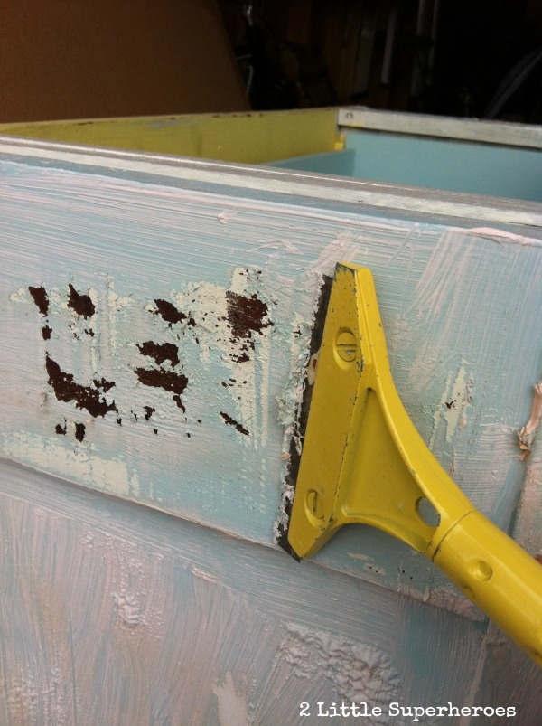 paint scrapping Stripping Painted Furniture: The Garbage Bag Trick