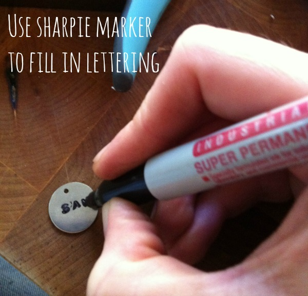 sharpie marker metal stamp necklace Hosting A Hand Stamped Jewelry Craft Night