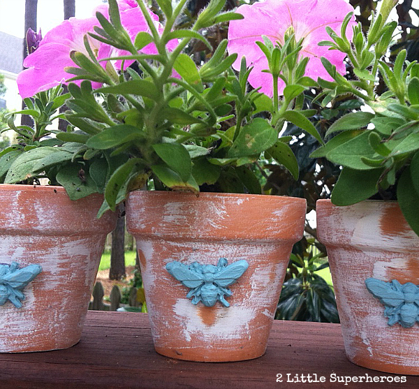 distressed clay pots Mod Melts Bumble Bee Pots