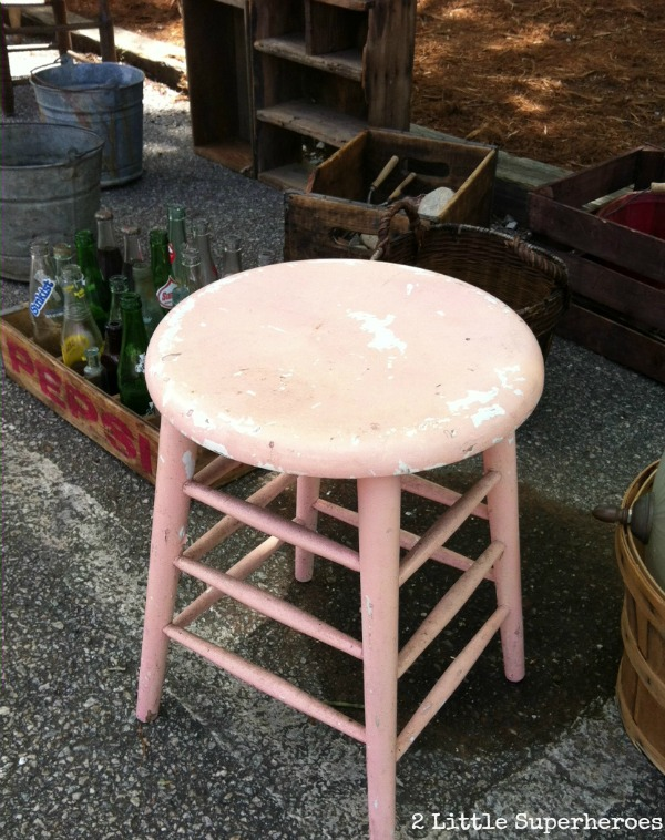 pink stool Sunday at the Raleigh Flea Market