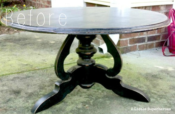 black table before1 Coral Coffee Table Using Milk Paint