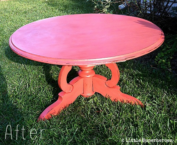 finished table Coral Coffee Table Using Milk Paint