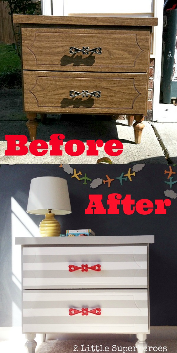 how to paint a striped dresser Striped Nightstand Makeover