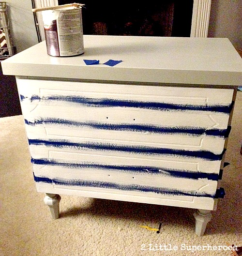 how to paint a stripped dresser Striped Nightstand Makeover