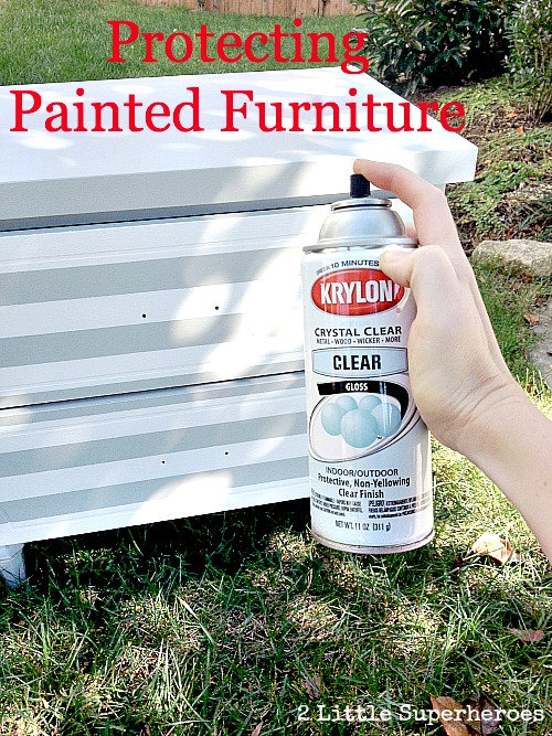 protecting painted furniture Striped Nightstand Makeover