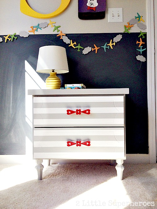 stripped dresser Striped Nightstand Makeover