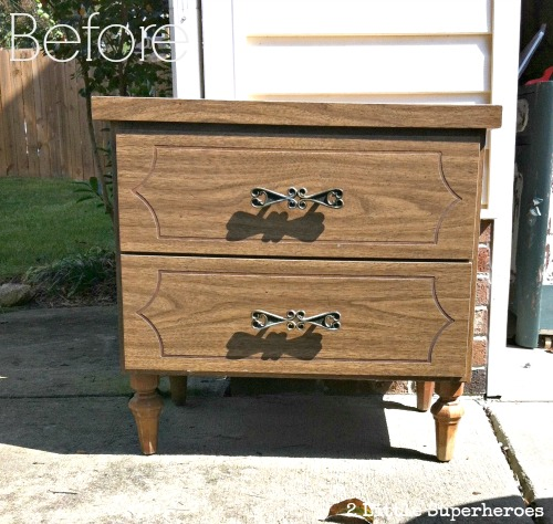 ugly dresser makeover Striped Nightstand Makeover