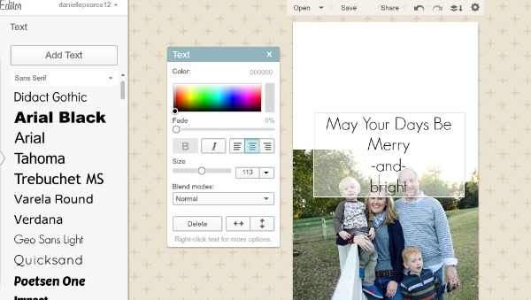 free photo editor DIY Christmas Cards for a Penny!