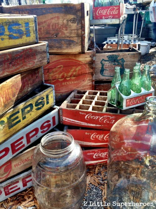 vintage crates Flea Market Hunting with Kids