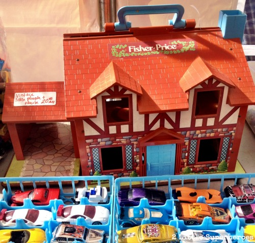 vintage fischer price dollhouse Flea Market Hunting with Kids