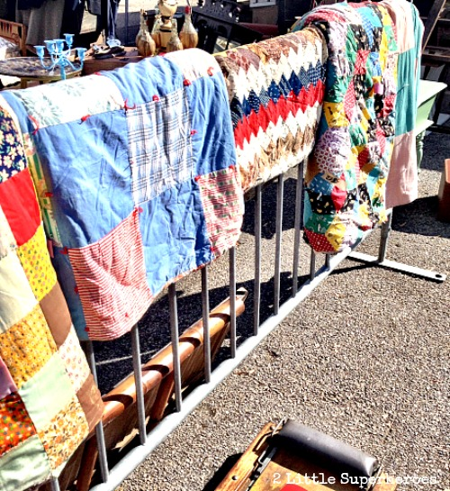 vintage quilts Flea Market Hunting with Kids