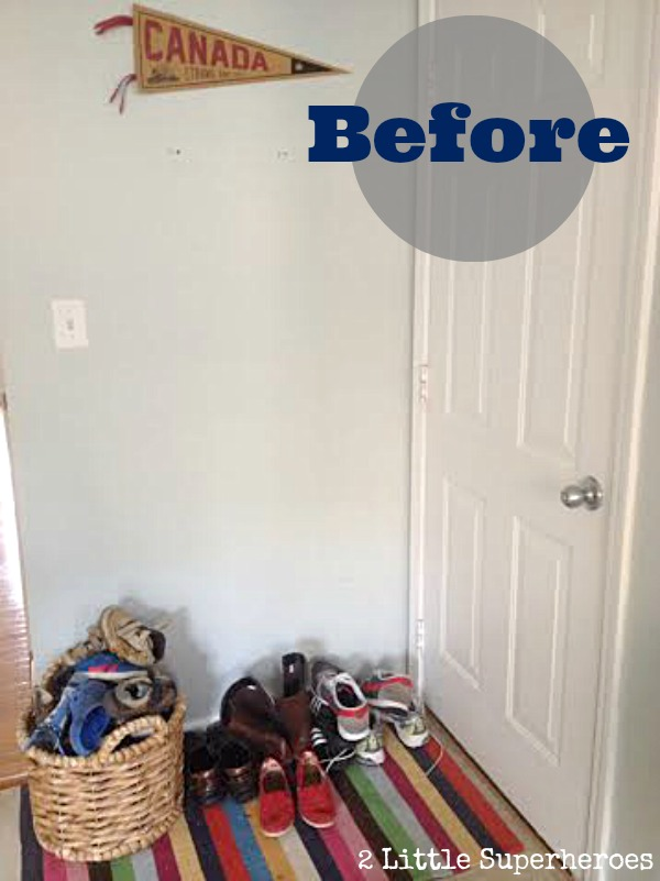 wood plank wall with hooks DIY Wood Plank Wall Hallway {Part 2}