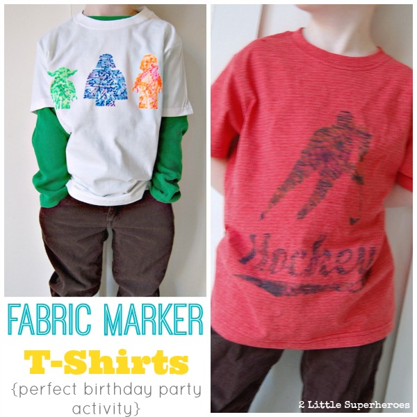 birthday party activity for boys Freezer Paper Stencil T Shirts with Neon Fabric Pens