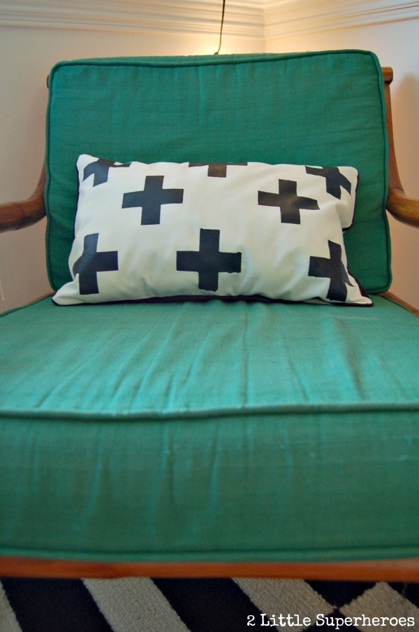 swiss cross diy Freezer Paper Stencil Pillow