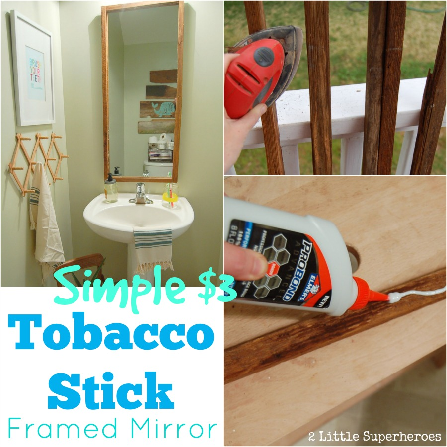 Tobacco stick framed mirror 2 little supeheroes2 little - Stick on frames for bathroom mirrors ...