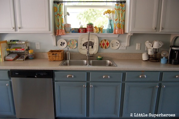painted blue kitchen.jpg Painted Kitchen Makeover