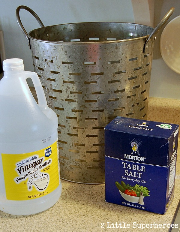 how to age stainless steel Olive Bucket Makeover