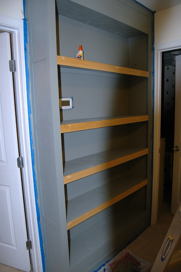 grey bookcase Built In Bookcase Tutorial