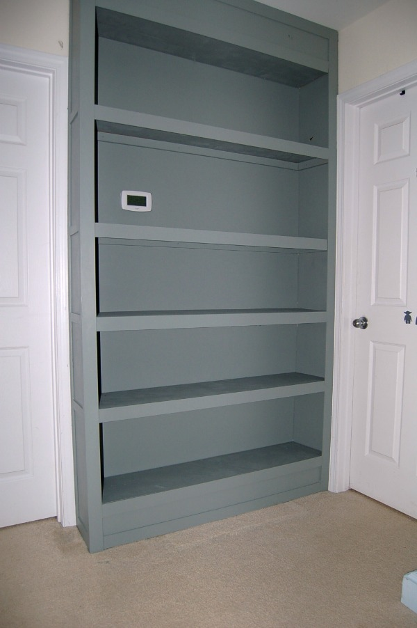 hallway bookshelf Built In Bookcase Tutorial